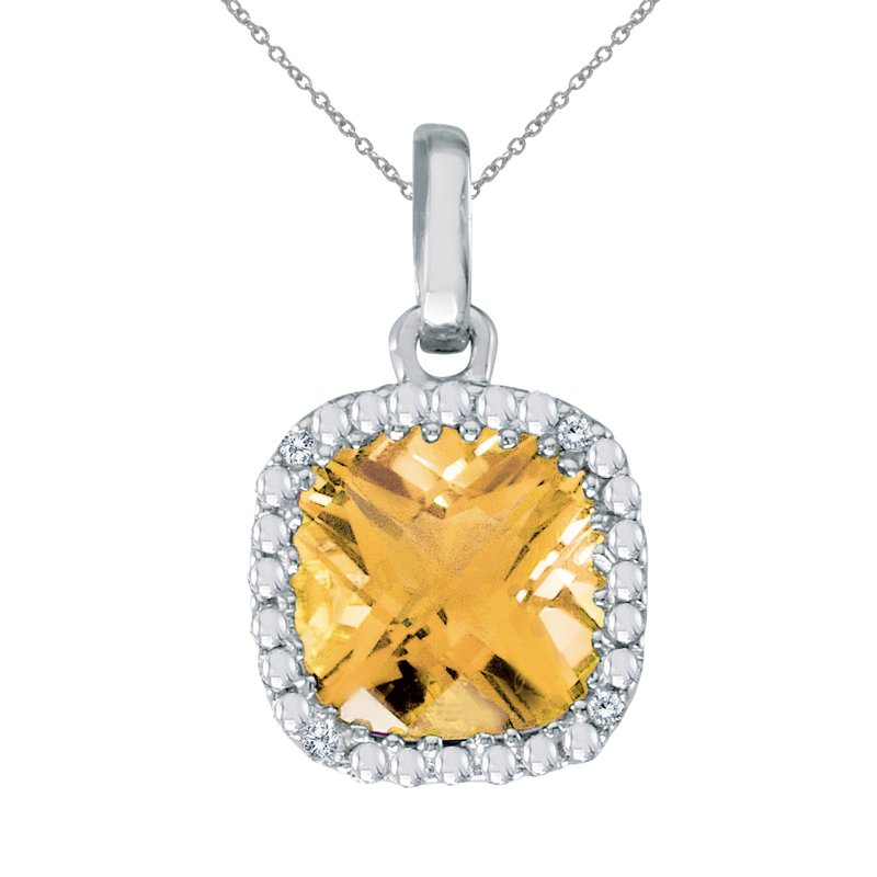 Color Merchants 14k White Gold Cushion Cut Citrine And Diamond pendant