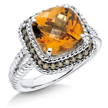 Sterling silver, citrine and brown diamond ring