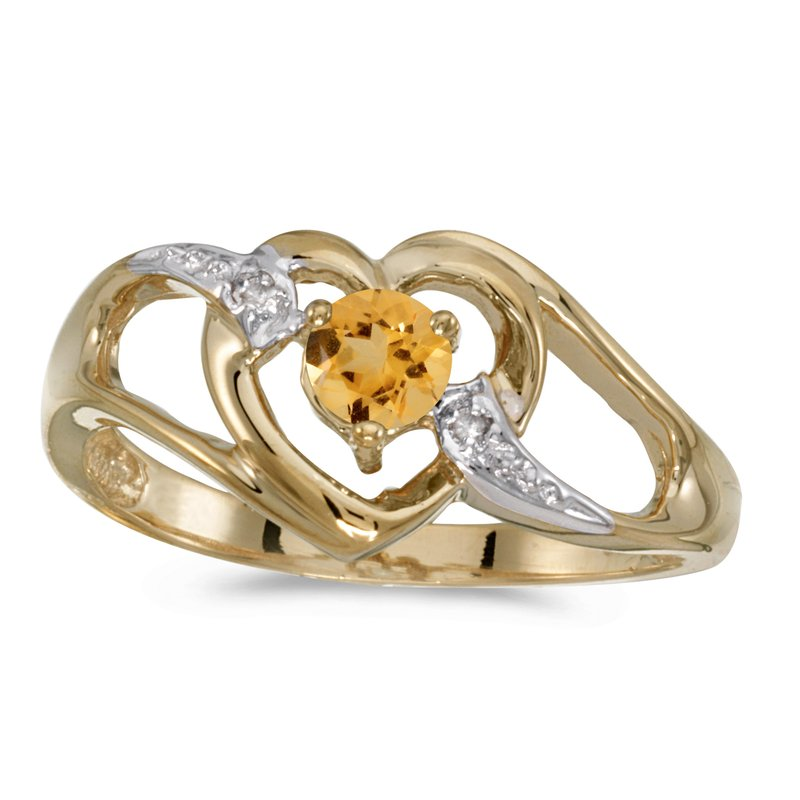 Color Merchants 10k Yellow Gold Round Citrine And Diamond Heart Ring