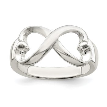 Sterling Silver Polished Heart Infinity Ring