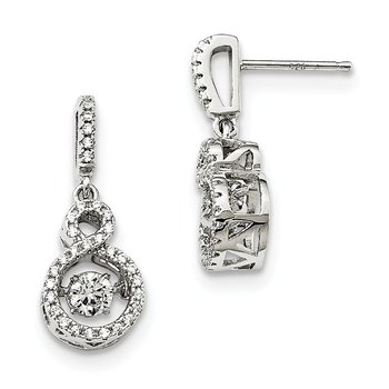 Sterling Silver Brilliant Embers Rhodium-pl and Vibrant CZ Infinity Earring