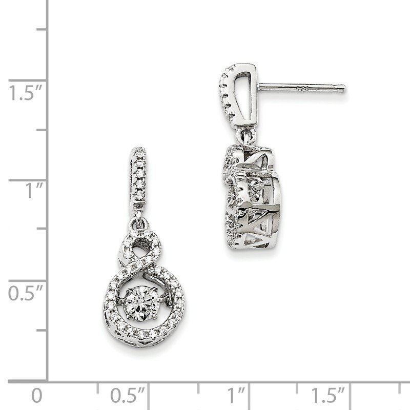 Quality Gold Sterling Silver Brilliant Embers Rhodium-pl and Vibrant CZ Infinity Earring