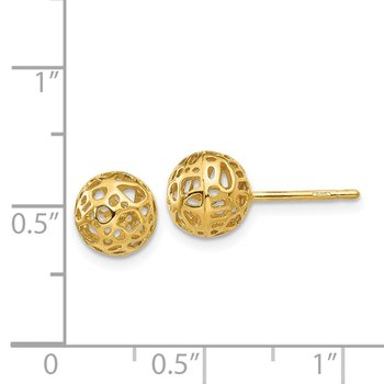 14K Yellow Gold Medium Fancy Ball Post Earrings