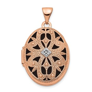 14k Rose Gold 21mm Oval w/Diamond Vintage blk interior Locket