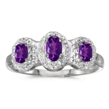 10k White Gold Oval Amethyst And Diamond Three Stone Ring