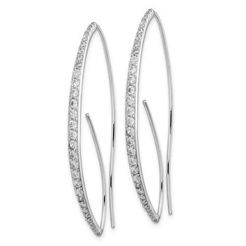 Sterling Silver Rhodium-plated CZ Threader Earrings