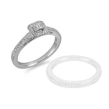 14K WG Diamond Engagement Ring in Pave Setting