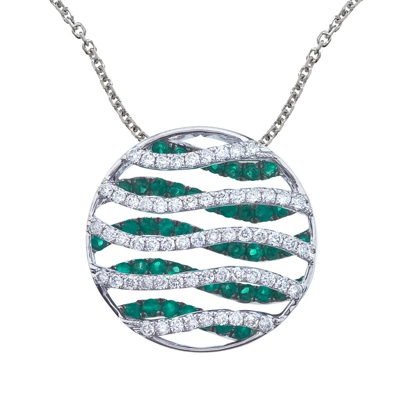 14k White Gold Emerald and Diamond Wave Pendant