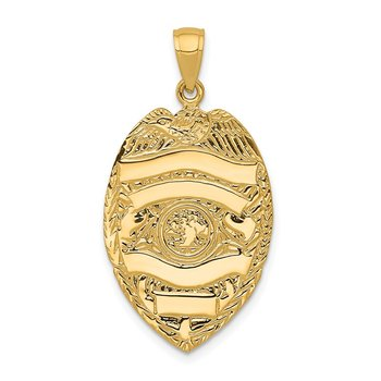 14k Large Badge Pendant