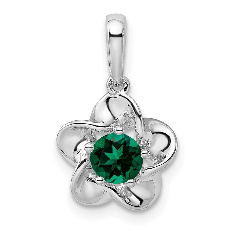 Quality Gold Sterling Silver Rhodium-plated Floral Created Emerald Pendant