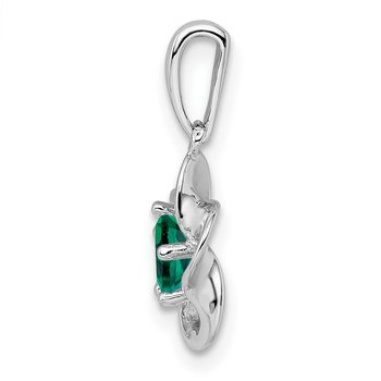 Sterling Silver Rhodium-plated Floral Created Emerald Pendant