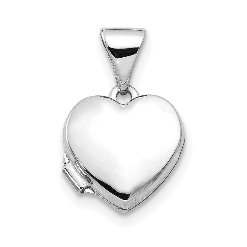 JC Sipe Essentials 14k White Gold Polished Heart-Shaped Locket