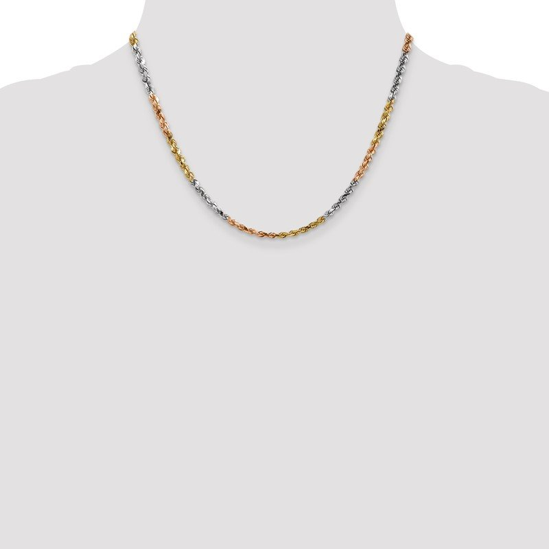 Fine Jewelry by JBD 14k Tri-Color 4mm D/C Rope Chain