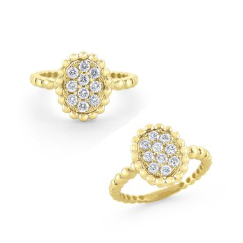 Oval Shape Large Milgrain Diamond Ring Set in 14 Kt. Gold