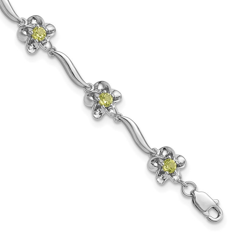 Arizona Diamond Center Collection Sterling Silver Rhodium-plated Floral Peridot Bracelet
