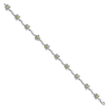 Sterling Silver Rhodium-plated Floral Peridot Bracelet