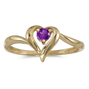 14k Yellow Gold Round Amethyst Heart Ring