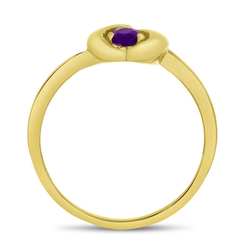 Color Merchants 14k Yellow Gold Round Amethyst Heart Ring