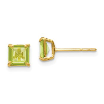 14k Madi K Peridot 5mm Square Post Earrings