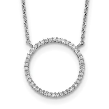 Sterling Silver Circle CZ Necklace