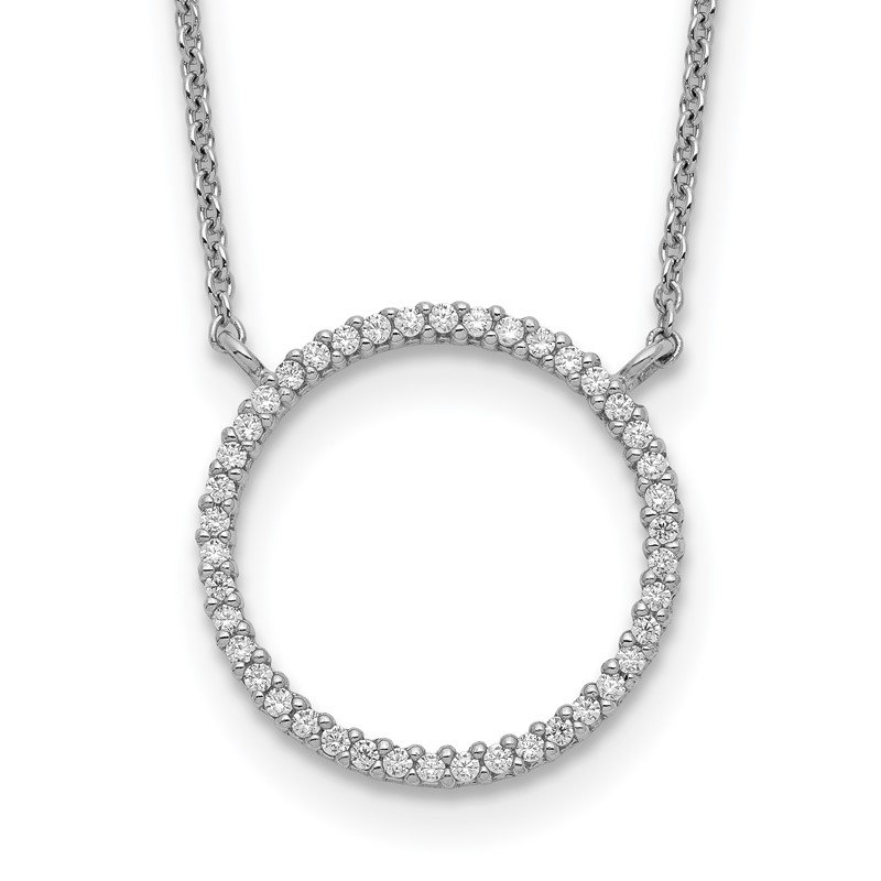 Quality Gold Sterling Silver Circle CZ Necklace