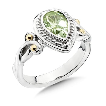 Sterling Silver, 18K Gold and Green Amethyst Ring