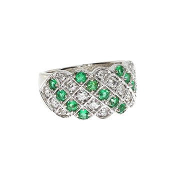 14k White Gold Emerald and Diamond Criss Cross Ring