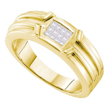 14kt Yellow Gold Mens Princess Diamond Cluster Ridged Wedding Band Ring 1/4 Cttw