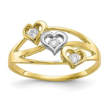 10K w/Rhodium Triple Heart CZ Ring