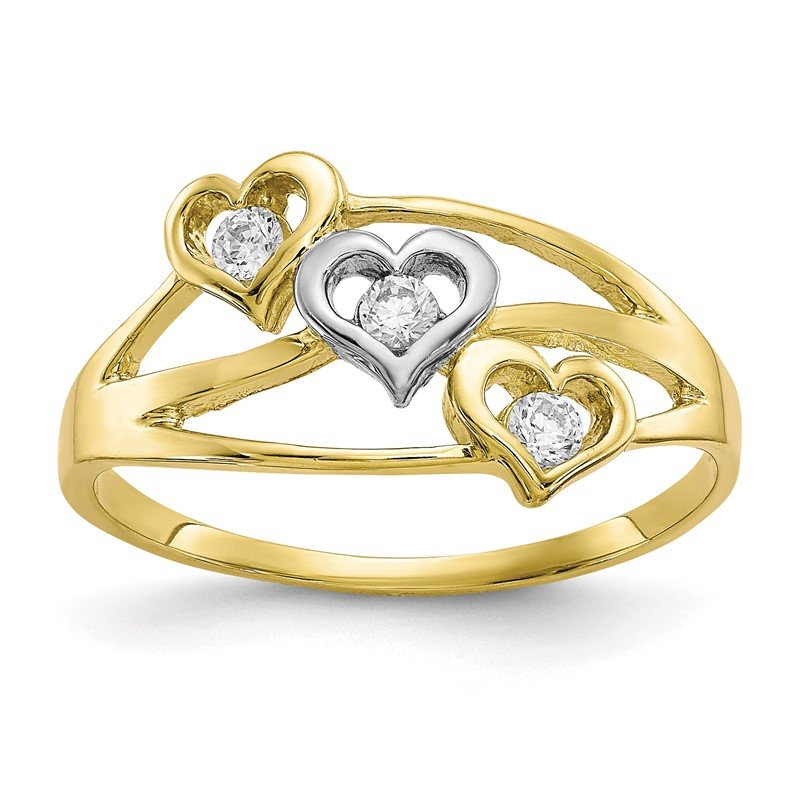 Quality Gold 10K w/Rhodium Triple Heart CZ Ring