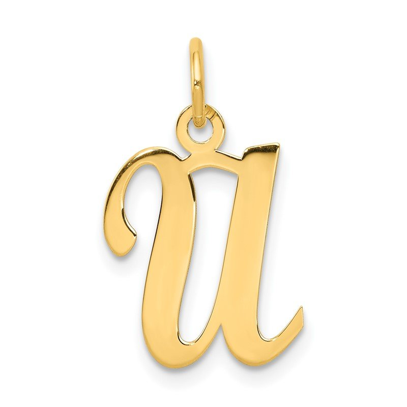 Quality Gold 14KY Script Letter U Initial Charm