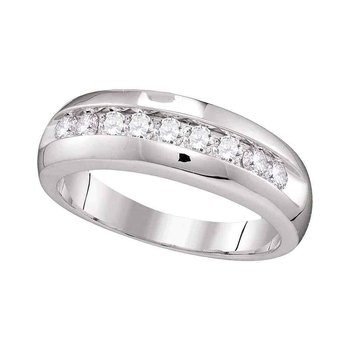 10kt White Gold Mens Round Diamond Single Row Wedding Anniversary Band Ring 1/2 Cttw