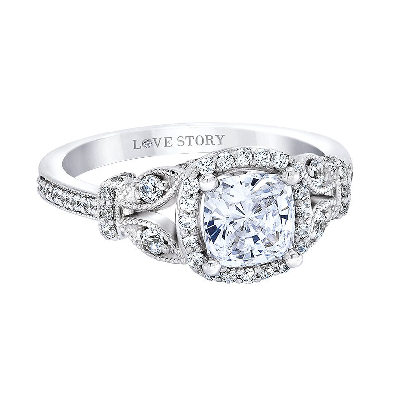 Love Story Halo Cushion Engagement Ring by Love Story
