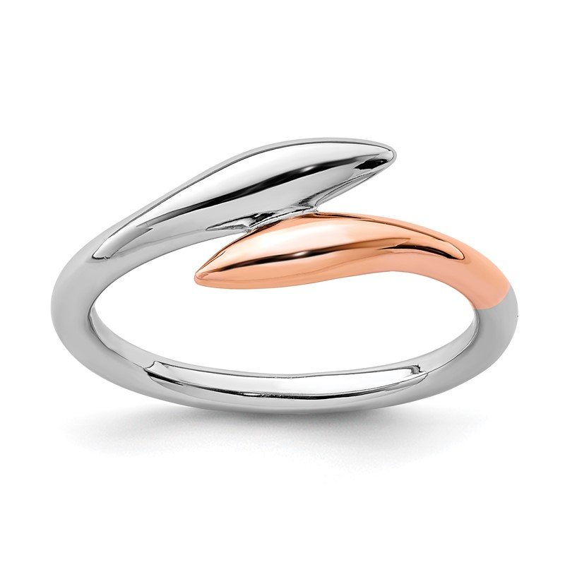 Quality Gold Sterling Silver Rhodium-plated Rose Gold-tone Bypass Ring