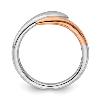 Sterling Silver Rhodium-plated Rose Gold-tone Bypass Ring
