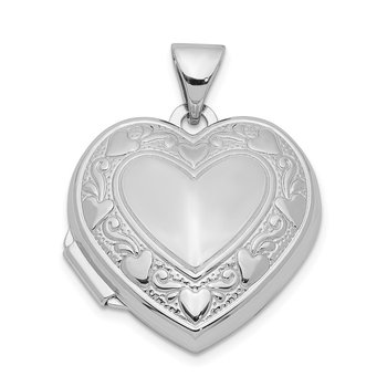 Sterling Silver Rhodium-plated Heart Locket