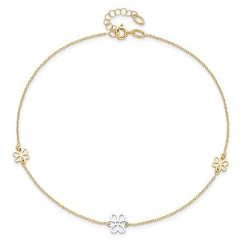 Leslie's 14k Two-tone Polished Flower with 1in ext. Anklet