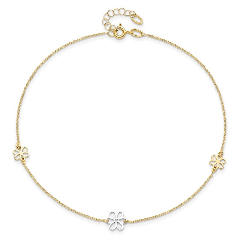 Leslie's Leslie's 14K Two-tone Polished Flower with 1in ext. Anklet