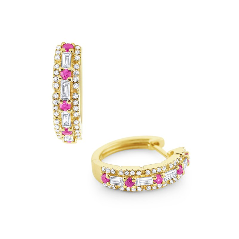 KC Designs Pink Sapphire & Diamond Mini Hoop Earrings Set in 14 Kt. Gold