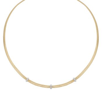 14K Gold Basketweave Diamond Accent Necklace