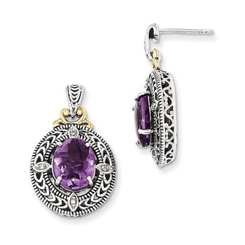 Sterling Silver w/14k Diamond & Amethyst Earrings
