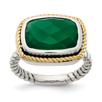Sterling Silver w/14k Green Onyx Ring