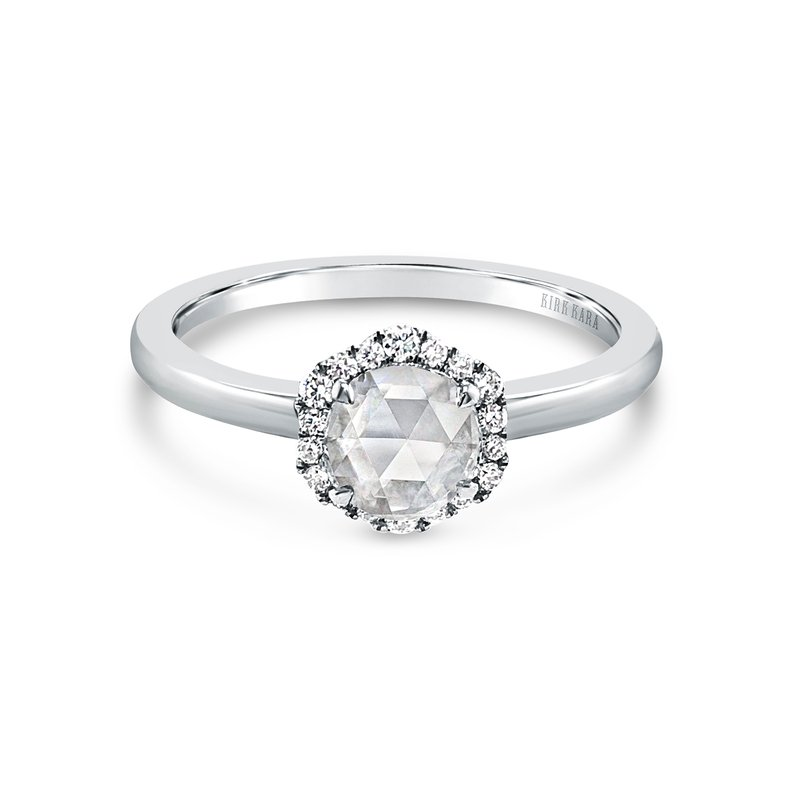 Rose Cut Halo Floral Diamond Engagement Ring