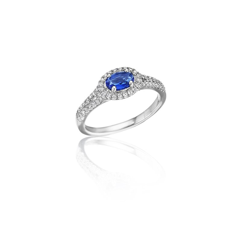 Fana Always On My Mind Sapphire and Diamond Oval Cut Ring