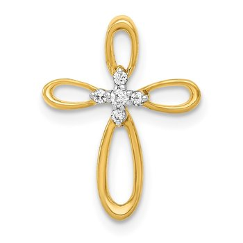 14k Diamond Cross Slide Pendant