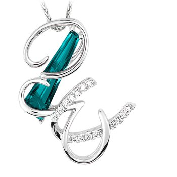 Initial Pendant - Chatham Created Paraiba Colored Spinel