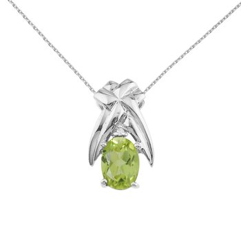 14k White Gold 7x5 mm Peridot and Diamond Oval Shaped Pendant