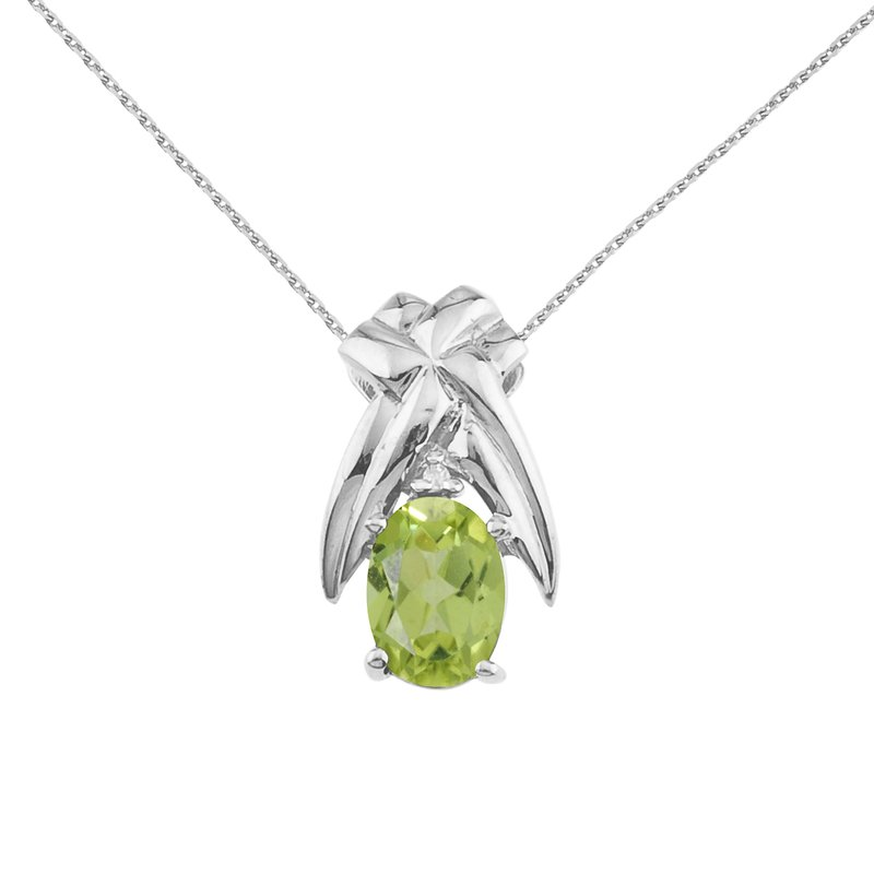 Color Merchants 14k White Gold 7x5 mm Peridot and Diamond Oval Shaped Pendant