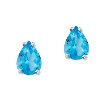 14k White Gold Pear Shaped Blue Topaz Earrings