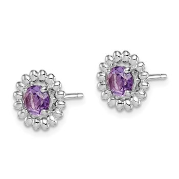 Sterling Silver Rhod-plat Amethyst Earrings